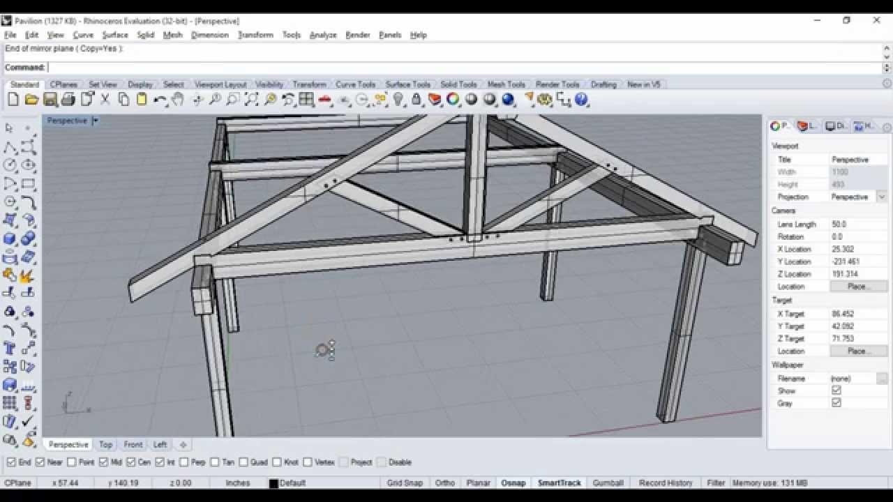 Timber Frame Pavilion Design on Rhino 3D - YouTube