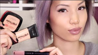 NEW LOREAL 24 HOUR PRODUCTS |  Pro Matte Foundation + Powder & Lipstick Review