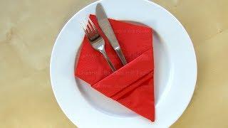 Servietten falten: Bestecktasche - Einfache DIY Tischdeko basteln mit Papier-Servietten. Hochzeit