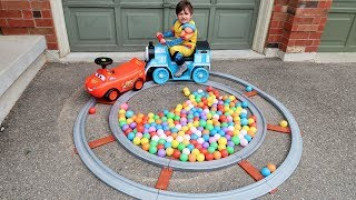 Baby Zack Playing with Disney Lightning McQueen and Thomas The Train ride on cars