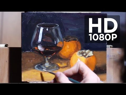 Painting realistic still life with glass, liquid and fruit -