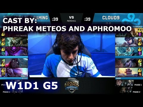 CLG vs Cloud 9  Cast  Phreak, Meteos and Aphromoo  Week 1 Day 1 of S8 NA LCS Spring 2018