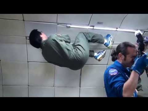 Filipino Scientist Apollo Arquiza floating in Zero G plane (for outer space research)