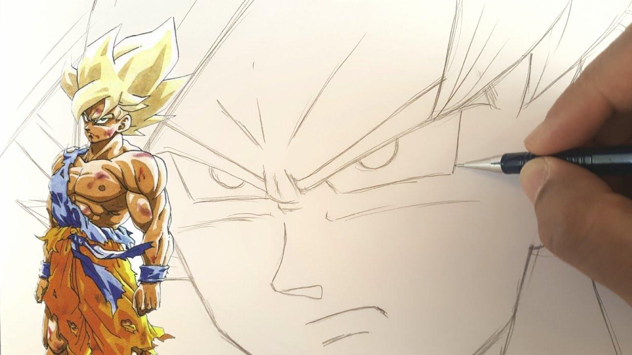 Comment Dessiner Goku Ssj Facilement Dbz Youtube