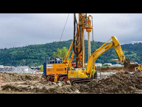 Drill rig Deep Soil Mixing on construction site time lapse