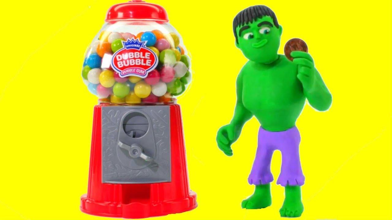 Download HULK & THE GUMBALL MACHINE ❤ Spiderman, Hulk & Frozen Elsa Play Doh Cartoons For Kids