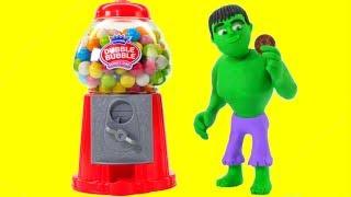 HULK & THE GUMBALL MACHINE ❤ Spiderman, Hulk & Frozen Elsa Play Doh Cartoons For Kids