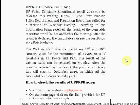 UPPRPB UP Police Result 2019 Released on uppbp.gov.in, Check More Detail...
