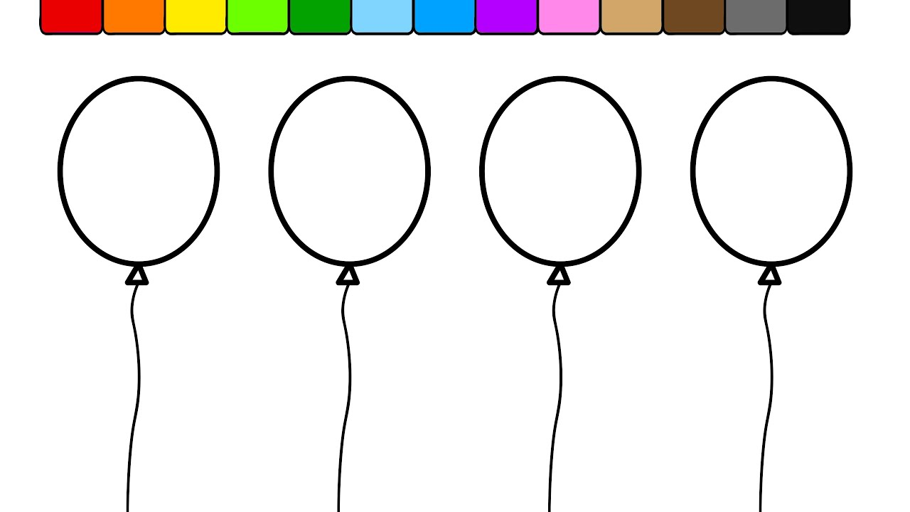 Learn Colors For Kids And Color This Balloon Coloring Page