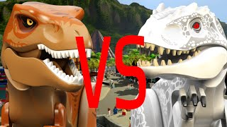 LEGO Jurassic World - T-rex Vs Indominus rex - (CoOp Fight) - On main street [HD]