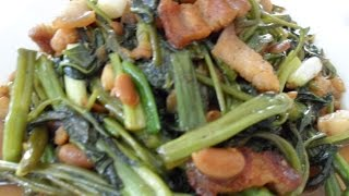 Stir Fried Pork Belly with Water Spinach and Sweet Soybeans Recipe