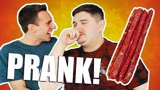 Eating SALMON Beef Jerky PRANK!