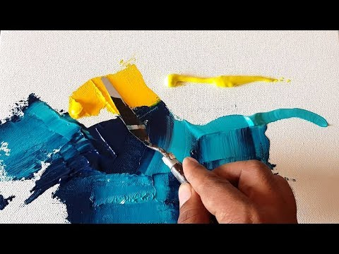 Abstract painting / EASY and Colorful in Acrylics / Palette knife / Demonstration