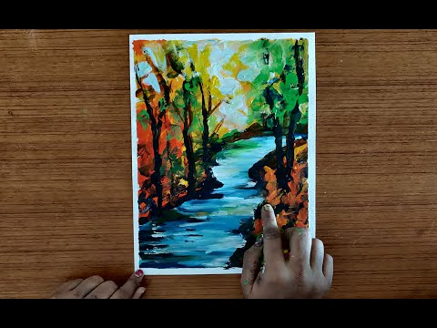 Paint with Fingers – Abstract Landscape | Acrylic Painting Lesson