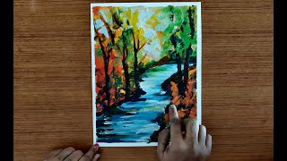 Paint with Fingers - Abstract Landscape | Acrylic Painting Lesson