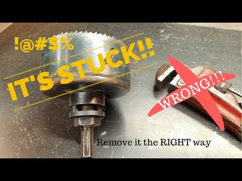 Remove a Stuck Hole Saw! THE EASY WAY! Actual video of a hole saw getting stuck!