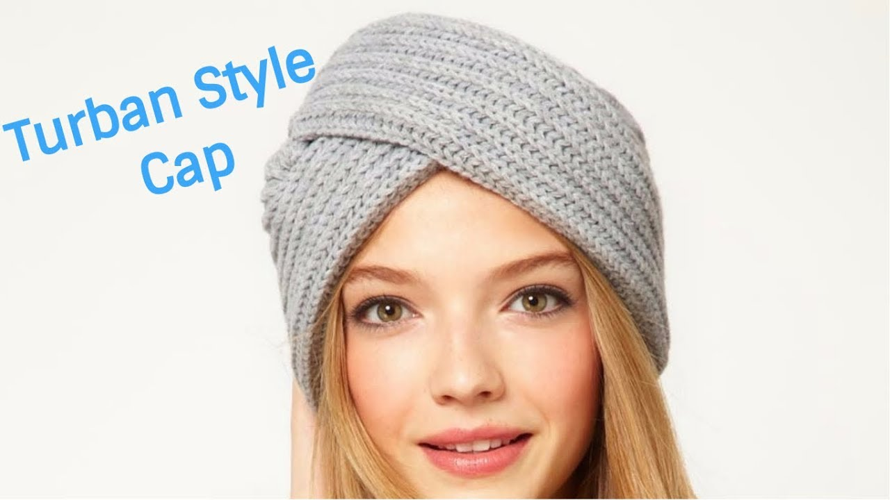 abb684e8cc7 Turban Style Cap with Knitting - YouTube