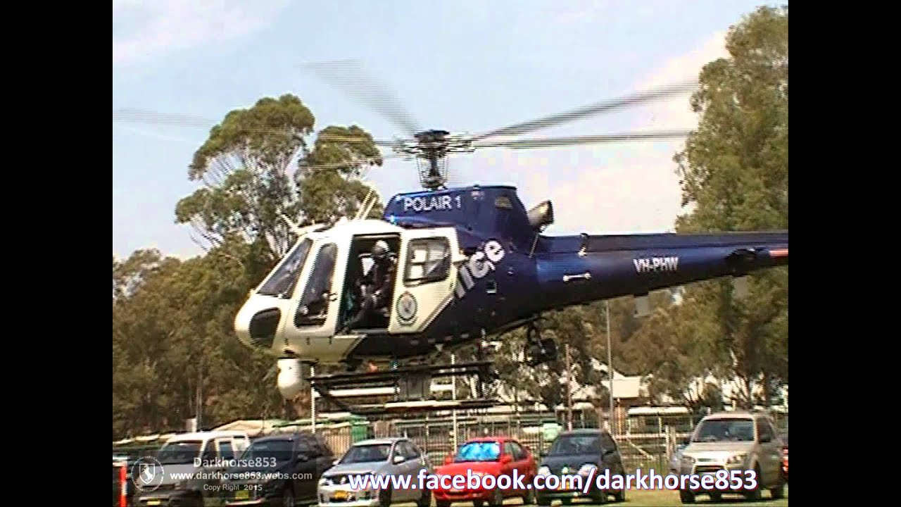 Polair One Helicopter Landing @ The NSW Police Fairfield Open Day 17102015