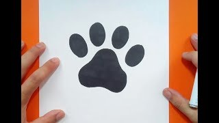Como dibujar una huella de perro paso a paso | How to draw a dog footprint