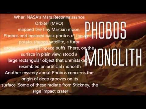monolith on one of mars moons phobos youtube