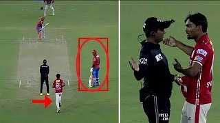 ipl10 fights kings xi punjab s sandeep sharma loses cool argues with umpire d cricket