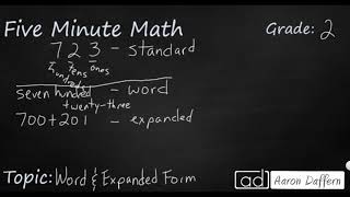 2nd Grade Math Word and Expanded Form