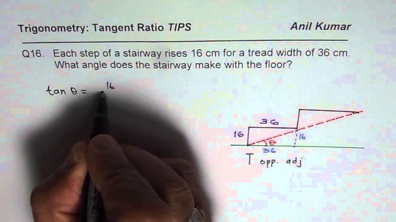 Q16 Staircase Angle Of Elevation Application Trig Ratio   YouTube