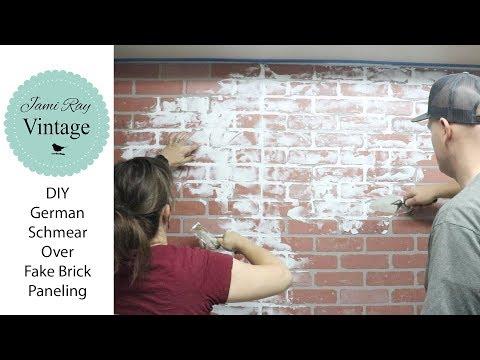 DIY German Schmear Over Fake Brick Paneling