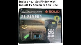 SOLID SF-810PRO Satellite Finder with inbuilt tv screen first look, features and functions