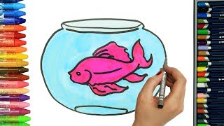 How to draw pink fish | Drawing and Painting for children | How to color | Coloring for children