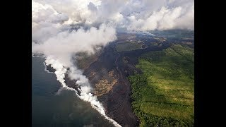Kilauea Crater Latest!  Lava Fountains  SURGE  - Terrifying Latest Aerials