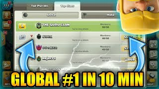 OMG!! 😱 GET GLOBAL#1 IN 10 MIN ||CLASH OF CLANS