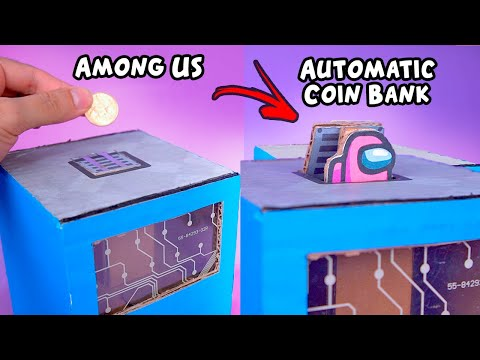 Making an Amazing AMONG US Coin Bank  with DC Motor