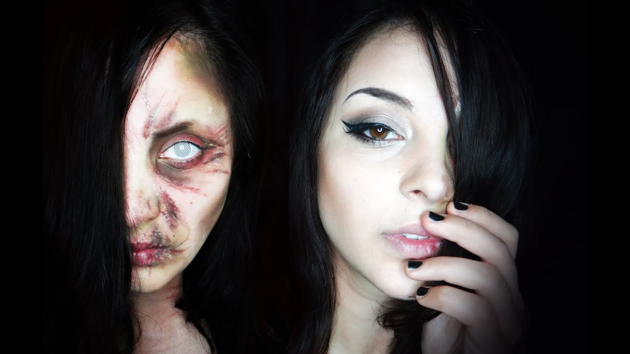 Pretty and Ugly Witch- Halloween Makeup - YouTube