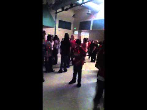 Gavin breakdancing at haller middle school
