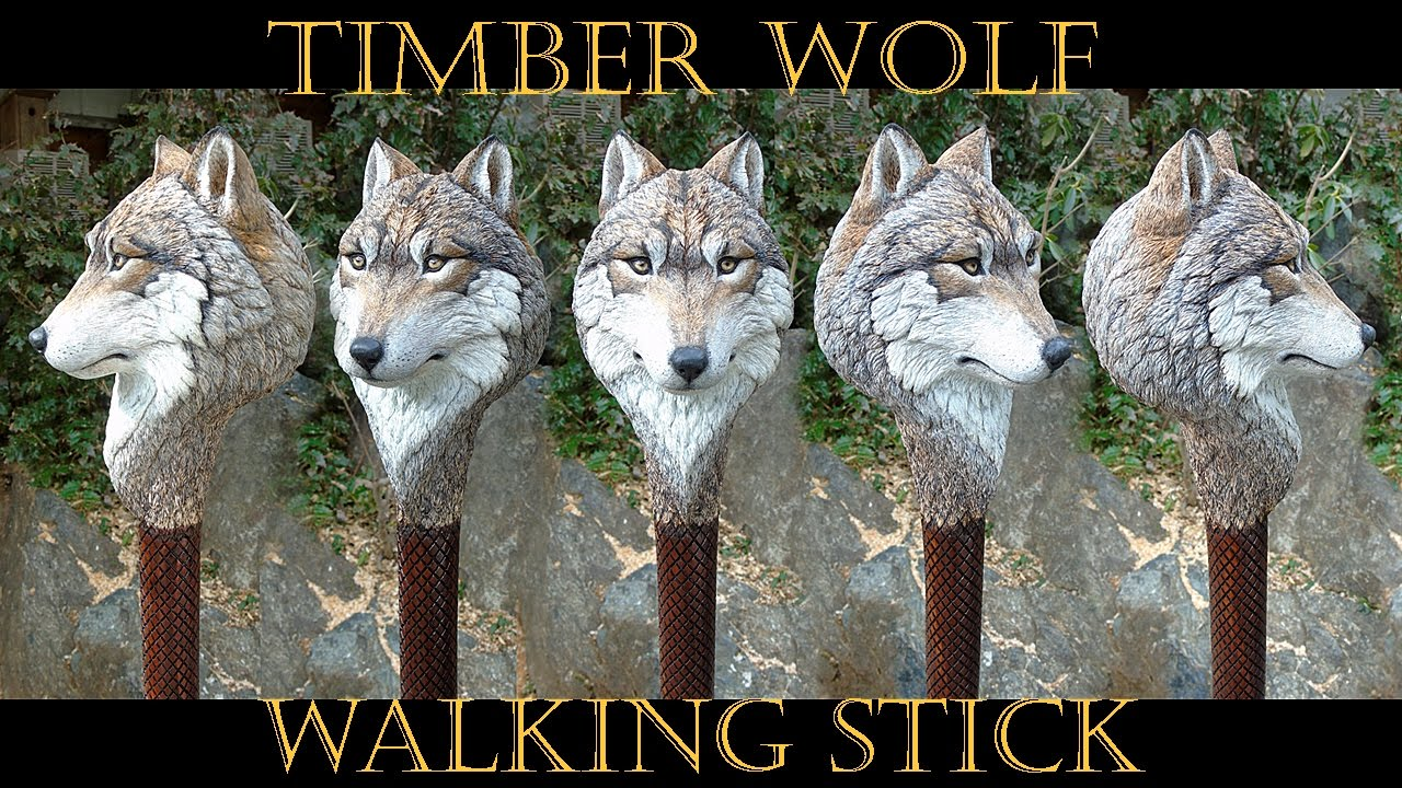 Timber Wolf and Shed Antler Wood Carved Walking Stick ...