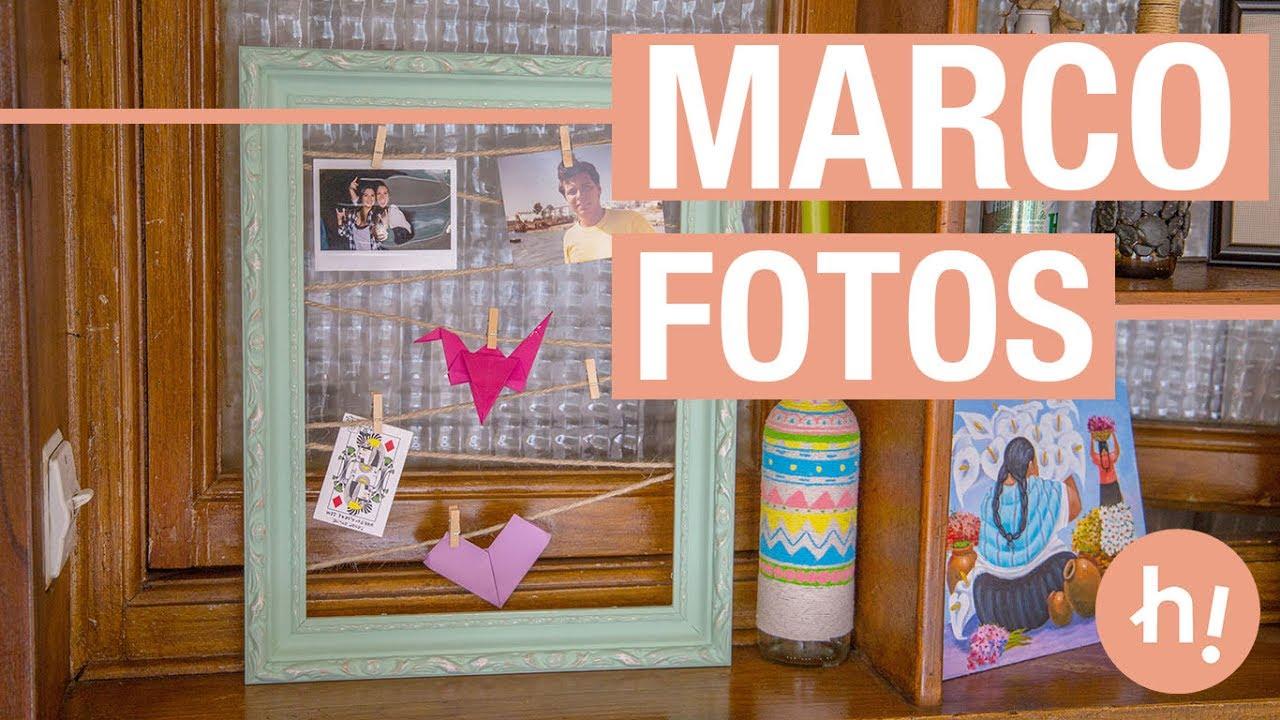 Marco para colgar fotos con cuerda handfie diy youtube - Diy marcos para fotos ...
