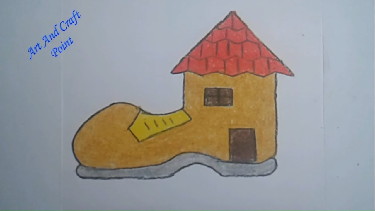 How To Draw Step By Step Simple Pastel Boot House For Kids Art