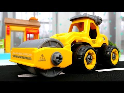 Машинки ПОМОЩНИКИ для малышей— Грузовик, Экскаватор имашинка КАТОК— Строим дорогу для машинок