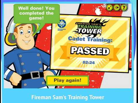 Fireman Sam's training tower gameplay online all 3 levels - YouTube