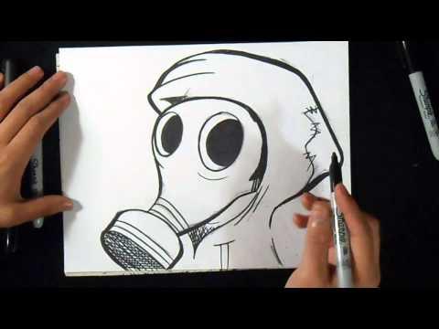 Cómo Dibujar Mascara De Gas Graffiti