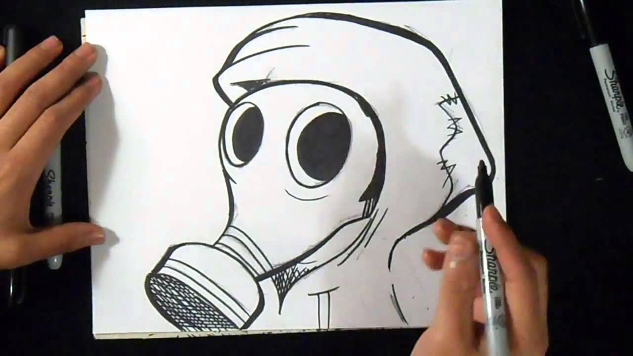 Cmo dibujar Mascara de Gas Graffiti  YouTube
