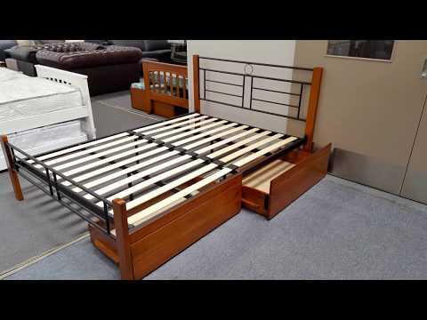 Double Bed Topaz Solid Construction in Antique Oak & Black Colour Malaysian Made