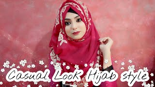Casual look Hijab style for College and Universities ..Hijab style with Front coverage 2018