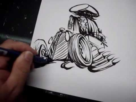 Line Drawing Rat : Rat rod quick draw youtube