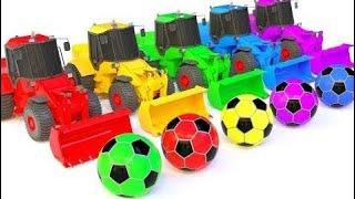 コレクションビデオ:ブルドーザートラックで学ぶ子供のための色 - 通りの車両 - サッカーボール