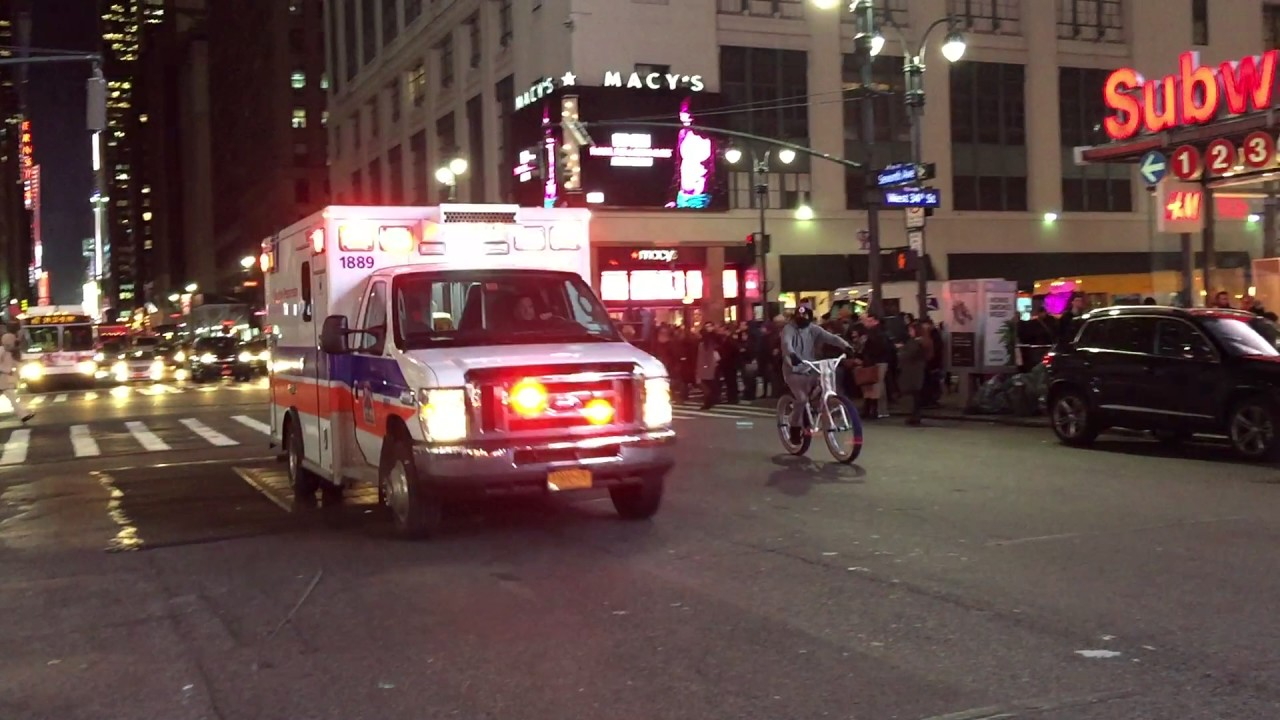 NEW YORK PRESBYTERIAN HOSPITAL EMS AMBULANCE RESPONDING ON 7TH AVENUE IN  MIDTOWN, MANHATTAN, NYC