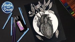 Уроки рисования: Как нарисовать сердце. Графическая иллюстрация.