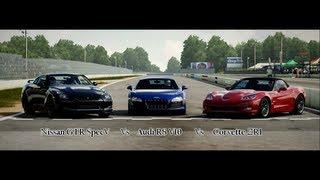 forza motorsport 4 battle s1 e7 nissan gtr vs audi r8 v10 vs corvette zr1