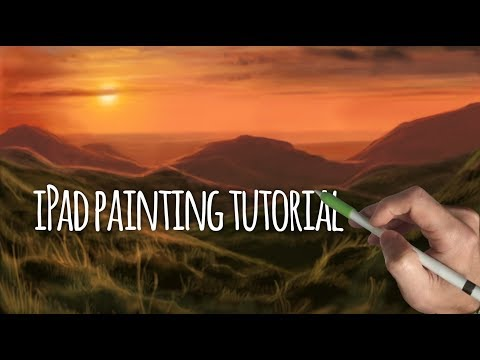 HOW TO PAINT SUNSET OVER ROLLING HILLS - iPad Pro + Apple Pencil painting tutorial